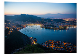 Foam board print  View from the Sugarloaf at sunset, Rio de Janeiro, Brazil, South America - Michael Runkel