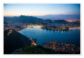 Premium poster View from the Sugarloaf at sunset, Rio de Janeiro, Brazil, South America