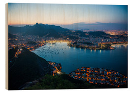 Wood print  View from the Sugarloaf at sunset, Rio de Janeiro, Brazil, South America - Michael Runkel