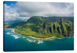 Canvas print  Aerial of the Napali coast, Kauai, Hawaii, United States of America, Pacific - Michael Runkel