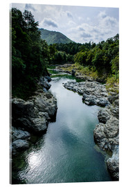 Acrylic print  River contributing water to the Marlborough Sounds, South Island, New Zealand, Pacific - Michael Runkel
