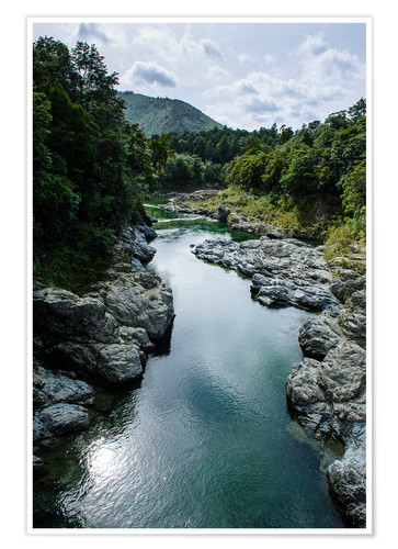 Premium poster River contributing water to the Marlborough Sounds, South Island, New Zealand, Pacific