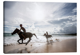 Canvas  Children riding on the beach, Nihiwatu - James Morgan