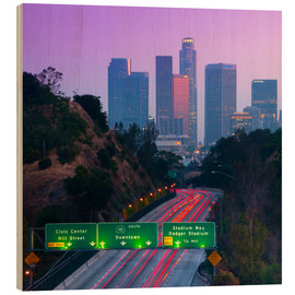 Wood print  Route 110, Los Angeles, California, United States - Alan Copson