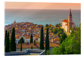 Acrylic glass  Old Town view with Church of St. George (Cerkev sv. Jurija), Piran, Primorska, Slovenian Istria, Slo - Alan Copson