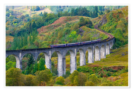 Premium poster Train on the Glenfinnan Railway Viaduct, part of the West Highland Line, Glenfinnan, Loch Shiel, Hig