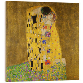 Wood print  The kiss - Gustav Klimt