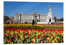 Acrylic print  Buckingham Palace and Queen Victoria Monument with tulips, London, England, United Kingdom, Europe - Stuart Black