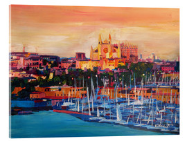 Acrylic print  Spain Balearic Island Palma de Mallorca with Harbour and Cathedral - M. Bleichner
