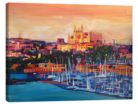 Canvas  Spain Balearic Island Palma de Mallorca with Harbour and Cathedral - M. Bleichner