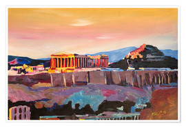Premium poster Athens Greece Acropolis At Sunset