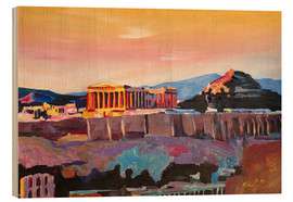 Wood print  Athens Greece Acropolis At Sunset - M. Bleichner