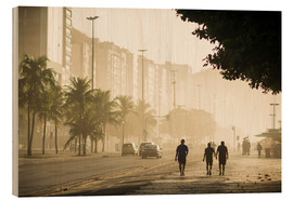 Wood print  Copacabana at dawn