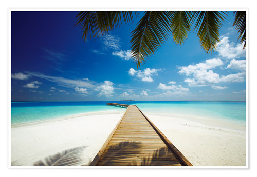 Premium poster Wooden jetty out to tropical sea