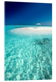 Acrylic print  Tropical sandbank and sun umbrella - Sakis Papadopoulos