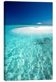 Canvas print  Tropical sandbank and sun umbrella - Sakis Papadopoulos