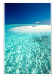 Premium poster  Tropical sandbank and sun umbrella - Sakis Papadopoulos