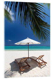 Acrylic print  Lounge chairs on tropical beach - Sakis Papadopoulos