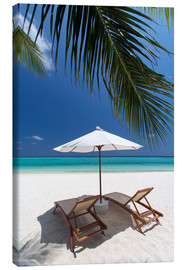 Canvas print  Lounge chairs on tropical beach - Sakis Papadopoulos