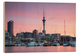 Wood print  Viaduct Harbour and Sky Tower, Auckland - Ian Trower