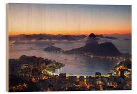 Wood print  Sugarloaf Mountain and Botafogo Bay - Ian Trower