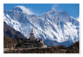 Premium poster  Tenzing Norgye Stupa & Mount Everest - John Woodworth