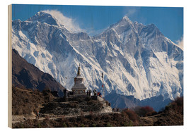 Wood print  Tenzing Norgye Stupa & Mount Everest - John Woodworth