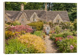Wood print  Romantic Cottage garden in the Cotswolds (England) - Christian Müringer
