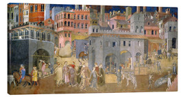 Canvas print  Effects of Good Government in the city - Ambrogio Lorenzetti