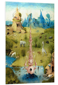 Foam board print  Garden of Earthly Delights, the paradise (detail) - Hieronymus Bosch