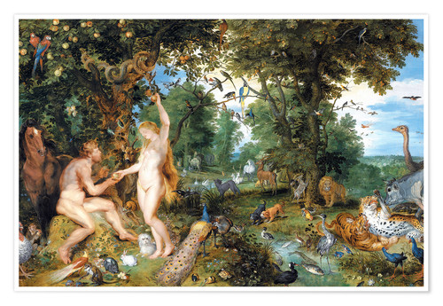 Premium poster Garden of Eden with the Fall of Man