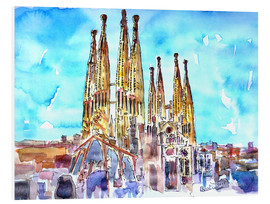 Foam board print  Turquoise sky over the Sagrada Familia - M. Bleichner