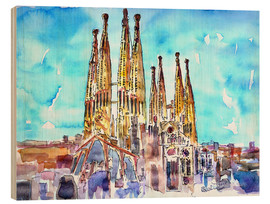 Wood print  Turquoise sky over the Sagrada Familia - M. Bleichner