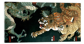 Acrylic print  A dragon and two tigers - Utagawa Sadahide