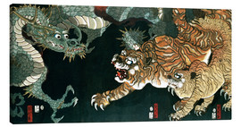 Canvas  A dragon and two tigers - Utagawa Sadahide