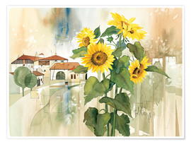 Premium poster  Sunflower greetings - Franz Heigl