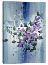 Canvas print  View with clematis - Franz Heigl