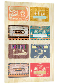Acrylic print  Vintage Tapes Collage - GreenNest