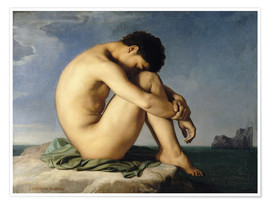 Premium poster  Naked young man is sitting by the sea - Hippolyte Flandrin