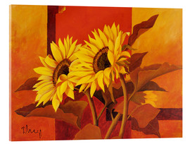 Acrylic print  Two sunflowers III - Franz Heigl