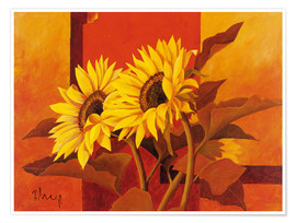 Premium poster  Two sunflowers III - Franz Heigl