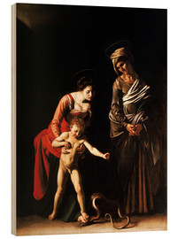 Wood print  Madonna with the Serpent - Michelangelo Merisi (Caravaggio)