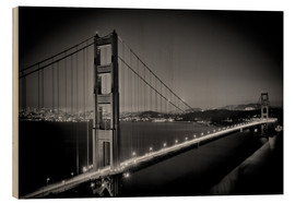 Wood print  Golden Gate Bridge in the Evening - Melanie Viola