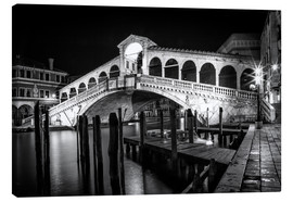 Canvas  VENICE Rialto Bbridge at Night - Melanie Viola