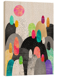 Wood print  Little Land of Pebbles - Elisabeth Fredriksson