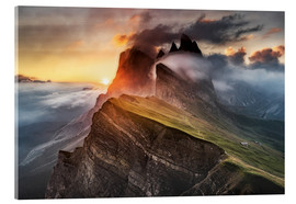 Acrylic glass  Sunrise in the Dolomites at Seceda - Andreas Wonisch