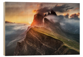 Wood print  Sunrise in the Dolomites at Seceda - Andreas Wonisch