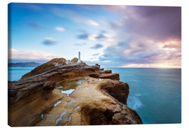 Canvas print  Lighthouse and sea at sunrise on the coast of New Zealand - Matteo Colombo