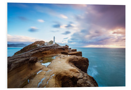 Foam board print  Lighthouse and sea at sunrise on the coast of New Zealand - Matteo Colombo