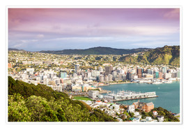 Premium poster Wellington in the morning, New Zealand